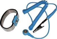 Adjustable metal wrist strap, 4 mm snap, Blue, coil cord 6ft, bannana plug