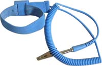 Adjustable wrist strap, 4mm snap, blue, 6' coil cord, alligator clip. No metal backing - Anti-allergic