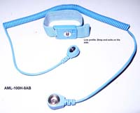 Adjustable wrist strap (4mm stud, color blue) with coil cord (length 8ft, color blue, 4mm snap - 10 mm snap)
