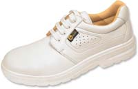 PERFORATED DERBY ESD White SHOE with steel toecap