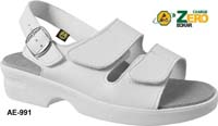 White Antistatic Ladies sandals. Washable in washing machine and extra light. Sizes: 4-10 (European 34-42).  Outsole: Mono-density PU, dissipative, anti-slip and resistant to oil.  Meet EN 61340-5-1.
