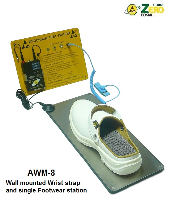 Wall Mounted Wrist Strap and Footwear Tester with AC switch for external Door Lock (U.S.A. Parameters). Best value. Digital, microprocessor controlled.