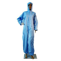 ZeroCharge Clean Room Coverall with Hood, Stripe Type, Blue.
