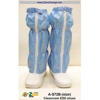 High, Anti-Static shoes for use with blue coveralls in cleanrooms. Dust proof and easy to clean. Nylon/carbon threads in upper part are lines spaced 5mm apart.