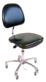 ESD Cleanroom, vinyl chair with pneumatic height adjustment - economy, black, on propriatory soft ESD rubber castors