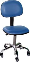 ESD Vinyl chair with pneumatic height adjustment - economy, Color blue, plastic castors. Only few left.