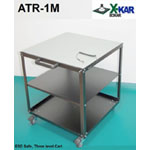ESD Utility Cart. Conductive, no marking wheels. Top shelve finish: ESD, two layer non burn rubber mat. Model ATR-1M has an extra middle shelf. Otherwise, same performance as ATR-1.