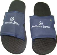 Anti-static economy slipper.  Sizes: 250-280mm (European  #34 - #44) Upper:  material: 65% polyester, 30%cotton and  5% conductive yarn. Sole – PVC. Resistance: 10e5-10e9 Ohm.  Low cost footwear for comfort in the winter or summer.