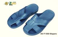 ESD Cleanroom slippers. Size: 220--280mm   (European 34- 44). Shoes Material: SPU. System Resistance 10^6 to 10^9 ohms. Color: A-S77W=white, A-S77B=blue,  A-S77Bk=black. Blu color is standard. Other colors delivery 3-4 weeks ARO