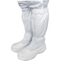 High, Anti-Static shoes with steel toecap for weare with white coveralls in cleanrooms whert toe protection is critical. Dust proof and easy to clean.        Sizes: 37 to 45.