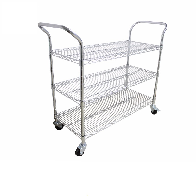 Low Cost, 3 levels, ESD Safe Narrow Cart. True Chromium finish (not a chromium looking paint), properly  grounded through conductive wheels. ESD safe performance on ESD floors guaranteed.