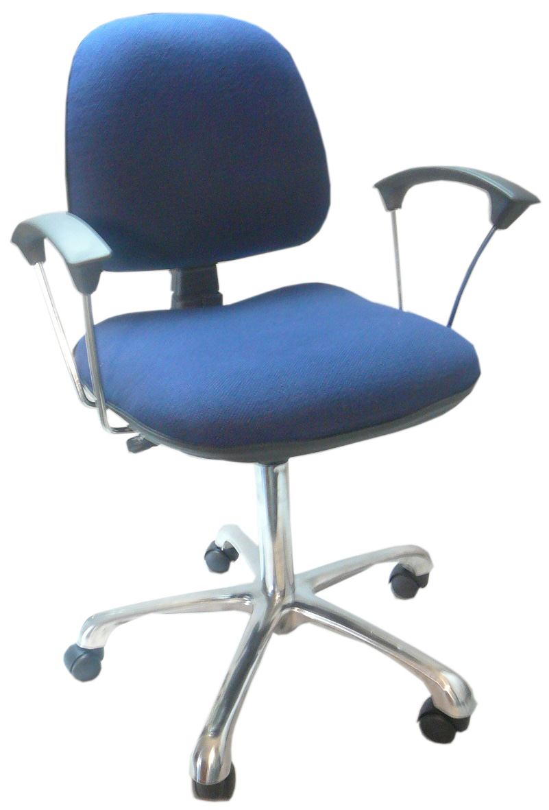 ESD Fabric Chair, dark blue with Arm Rests