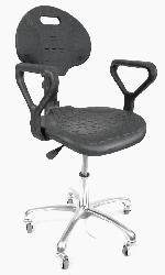 ESD Hi-Tech Molded Chair suitable for cleanrooms, black, with arm rests height adjustment, metal wheels with soft ESD tires
