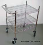 Low Cost, 3 levels, ESD Safe Wide Cart. True Chromium finish (not a chromium looking paint), properly  grounded through conductive wheels. ESD safe performance on ESD floors guaranteed.