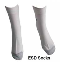 Antistatic socks to assure good contact of the leg and the ESD shoe. Unisex. Made with:  65% polyester, 30%cotton, 5% conductive yarn.  Resistance: 10e6-10e9 Ohms. For different socks-please click on