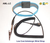 Anti-alergic, adjustable wrist strap, 4mm snap, blue, 8' black coil cord, alligator clip. No metal backing. Increased comfort.