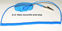 Adjustable wrist strap, 4mm snap, blue, 8' coil cord, alligator clip.