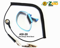 Anti-allergic, adjustable wrist strap, 4mm snap, blue, 8' black coil cord, alligator clip. No metal backing. Increased comfort.