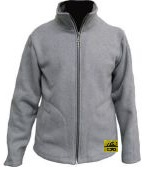Antistatic, lint free, light gray winter jacket with zipper closure and two pockets,