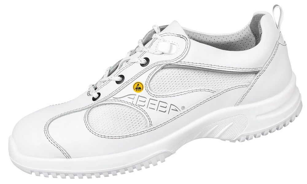 ESD Shoes, Smooth leather with breathable textile inlays, White