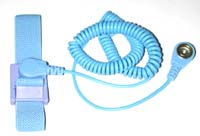Adjustable wrist strap (4mm stud, color blue) with coil cord: 4mm snap - 10 mm snap (length 12ft, color blue)