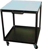 ESD Utility Cart. Conductive, no marking wheels. Top shelve finish: ESD, two layer non burn rubber mat. Static discharge to the ESD floor throgh the wheels is guaranteed for each unit. All metal. Can't be damaged by molten solder or high temperatures.