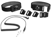Adjustable slim metal wrist strap, 4 mm snap, black, 6ft cord