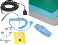 Table Top Set. Includes: StatMat-T Size 2.5' x 4' (0,76 x 1,2 m) Color Light Blue, A-Snap - 10 mm snap, AML-100H wrist strap, AS3-B dual banana grounding wire