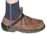 Anti-slip, dual duty conventional Heel Strap. Black velcro. Durable two layer black/blue sole and a multi-strand ribbon.