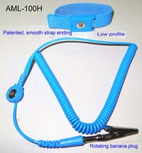 Adjustable Low Profile wrist strap (4mm stud, color blue) with coil cord (length 8ft, color blue, 4mm snap - rotating banana jack to prevent cord twisting and an alligator clip). FOR AML-100H12 the cord is 12' long. Please add 0.70 to the pice.