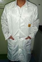 No-Stat CL Series ZeroCharge Clean Room Lab Coat, Fabric Grid Type, with snap fasteners