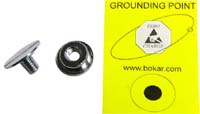 Male, easy mount, 10mm  mat grounding point with ESD sign label. Mounts with use of flat scredriver in a matter od seconds.