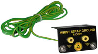 Dual banana jack wrist strap grounding system with 1 Mohm resistor and 10' cord
